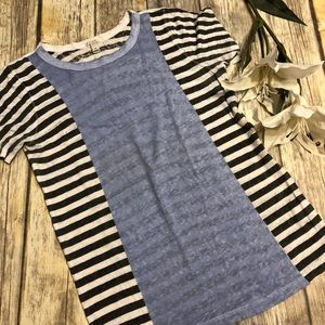J.CREW XS Blue, Dark Gray,& White Short Sleeve Top